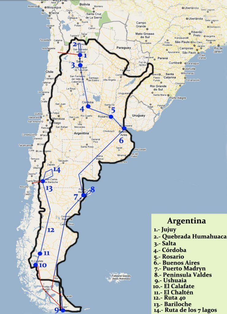 Recorrer Argentina de norte a sur