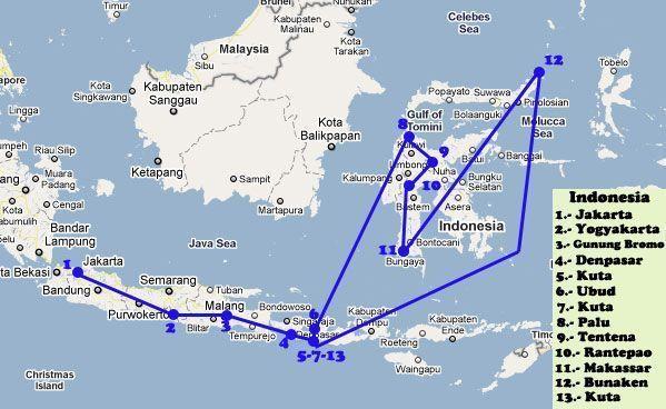 Ruta por las islas de Java, Sulawesi y Bali