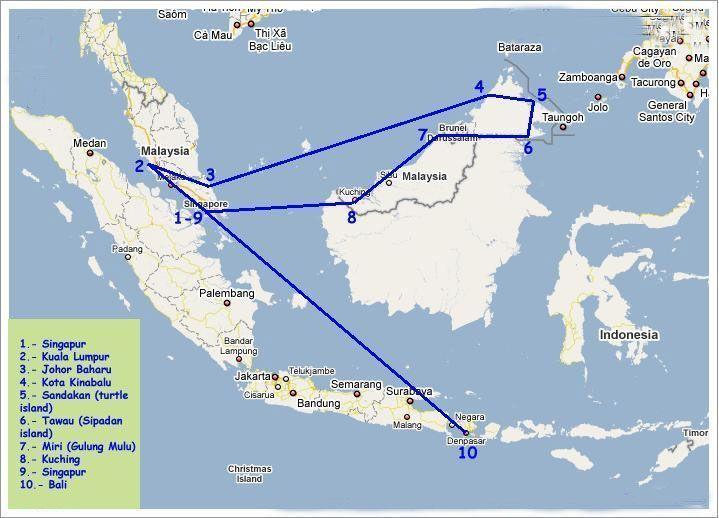 Ruta por Singapur Malasia y Bali