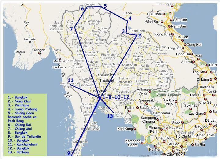 Ruta por Tailandia y Laos