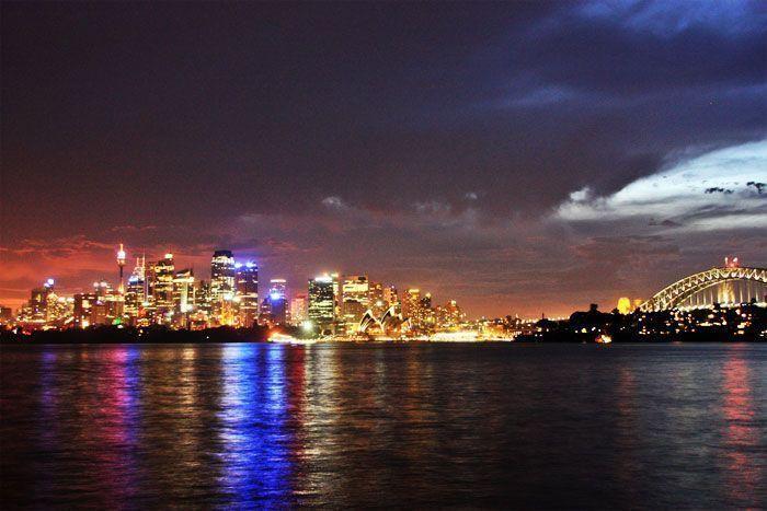 La bahía de Sidney de noche
