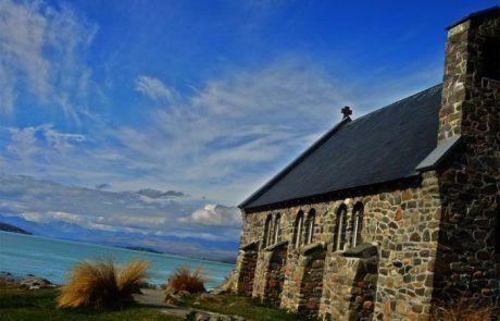 La iglesia del lago Pukaki en Nueva Zelanda