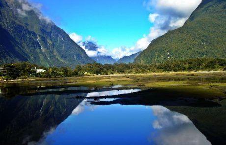 Panorámica de los Mirror Lakes en Nueva Zelanda