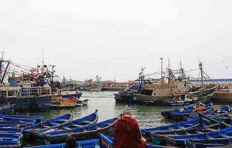 Panorámica del puerto de Essaouira, Marruecos