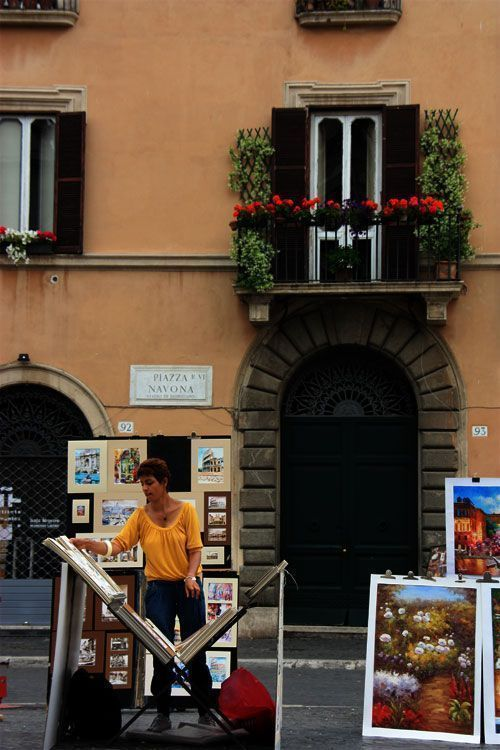 Pintora en la plaza Navona
