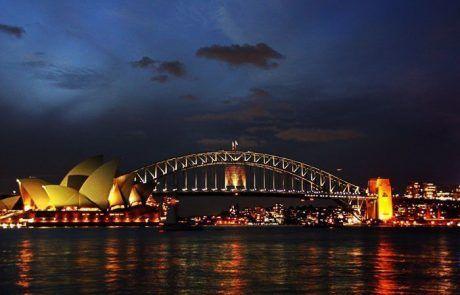 Puerto de Sidney de noche