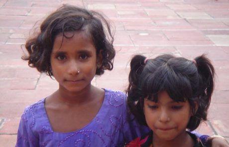Retrato de unas niñas en Nueva Delhi