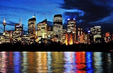 Skyline de Sidney de noche