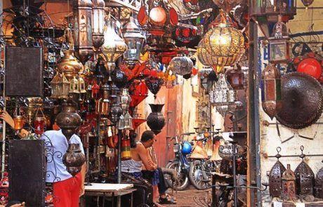 Tienda de lámparas medina de Marrakesh, Marruecos
