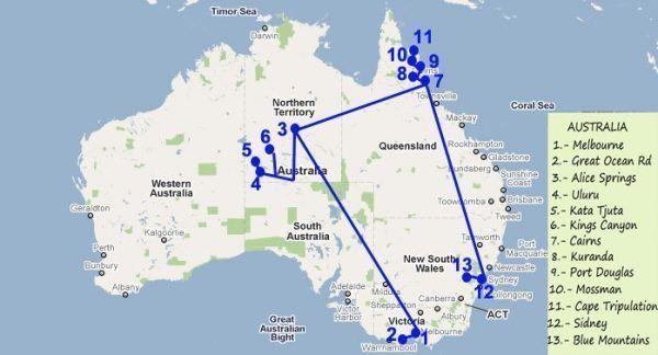 Mapa ruta de tres semanas por Australia