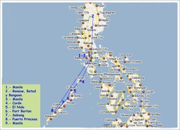 Ruta por las islas Filipinas de Luzón y Palawan