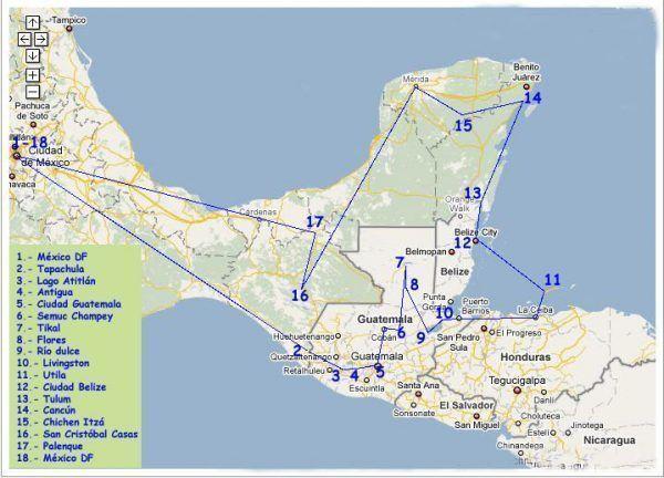 Mapa de la ruta maya en cuatro semanas