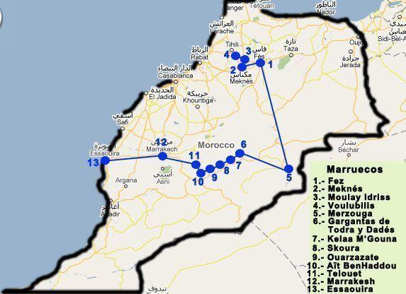 Mapa ruta por los mejores lugares de Marruecos