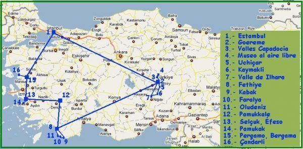 Mapa ruta por Turquía de tres semanas