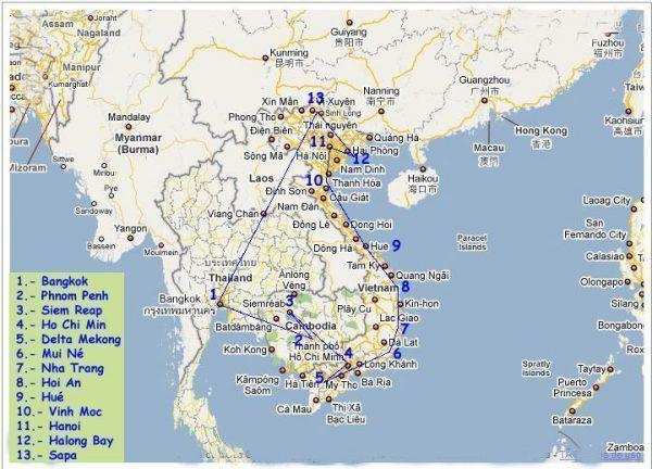 Mapa de ruta de tres semanas por Vietnam, Camboya y Bangkok