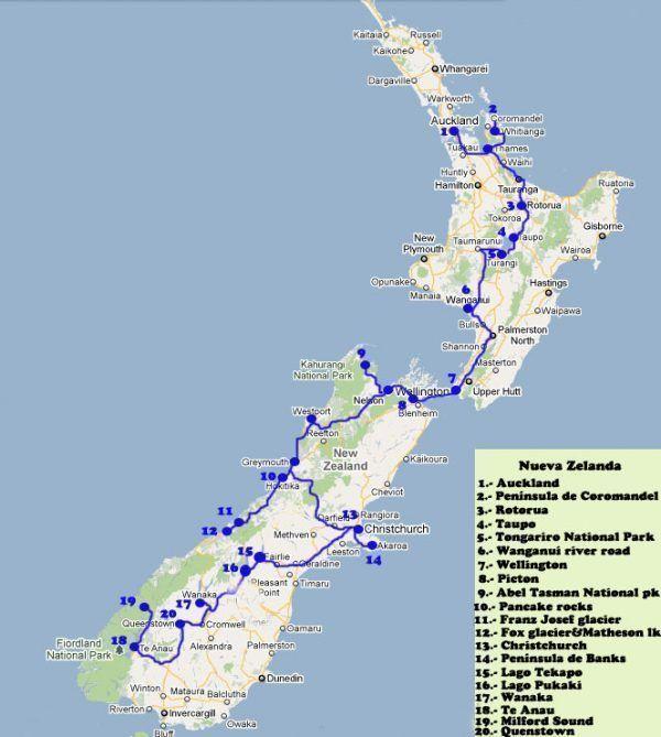 Mapa de una ruta de tres semanas en caravana por Nueva Zelanda
