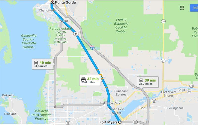 Ruta de Fort Myers a Punta Gorda
