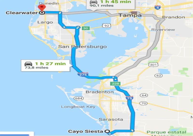 Ruta de Siesta Key a Clearwater