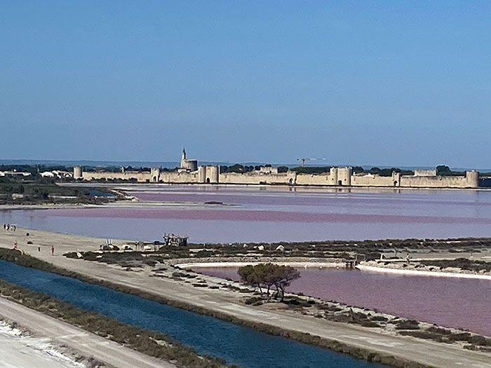 Panorámica de Aigues-Mortes desde las salinas rosadas